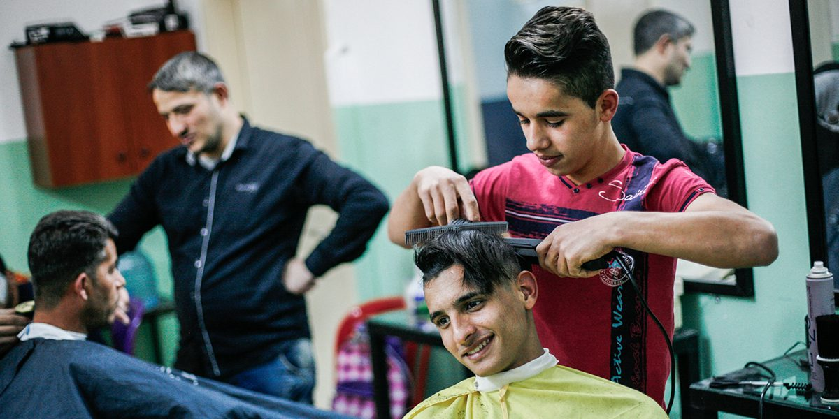 Barber course at the JRS FVDL centre in in Bourj Hammoud, Lebanon.